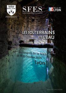 Affiche du congrès 2019 de la Société Française d'Etude des Souterrains, représentant une galerie à demi-immergée